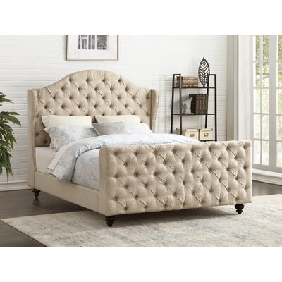 Tammera Button Tufted Upholstered Panel Bed Size: King