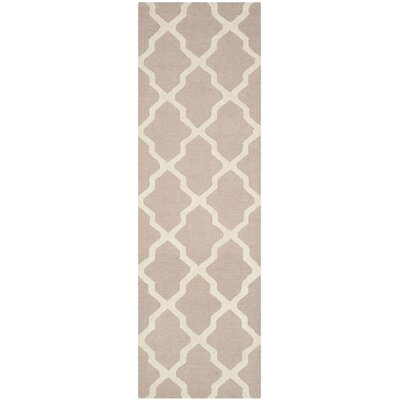 Kirschbaum Hand-Woven Wool Dark Beige/Ivory Area Rug Rug Size: Runner 26 x 12, Finish: Red