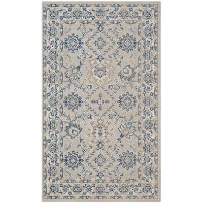 Patina Light Blue/Ivory Area Rug Rug Size: Rectangle 3 x 5