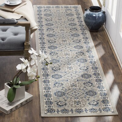 Patina Light Blue/Ivory Area Rug Rug Size: Runner 22 x 12