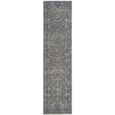 Harwood Cotton Dark Gray/Blue Area Rug Rug Size: Runner 22 x 8