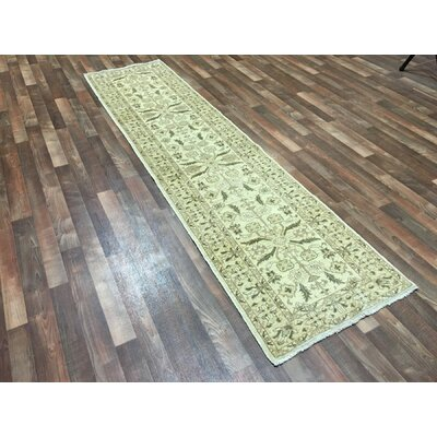 One-of-a-Kind Evert Hand-Woven Wool Beige Geometric Area Rug