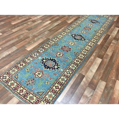 One-of-a-Kind Evert Traditional Kazak Hand-Woven Wool Blue Area Rug