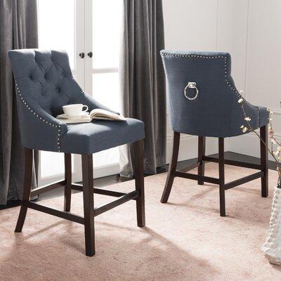 Ayansh 41 Bar Stool Upholstery: Navy/Linen