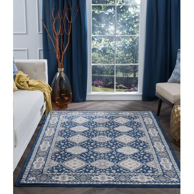 Dolphus Oriental Scatter Navy Area Rug Rug Size: Rectangle 5 x 67