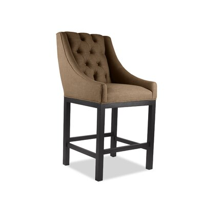 Haley 26 Bar Stool Upholstery Color: Brown, Leg Color: Dark Gray