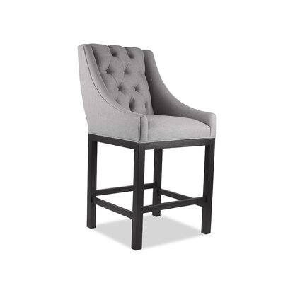 Haley 26 Bar Stool Upholstery Color: Gray, Leg Color: Dark Gray