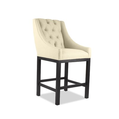 Haley 26 Bar Stool Upholstery Color: Sand, Leg Color: Dark Gray