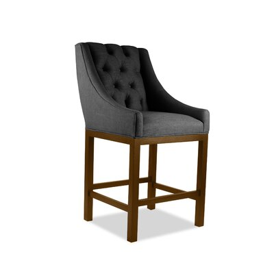 Haley 26 Bar Stool Upholstery Color: Charcoal, Leg Color: Cognac