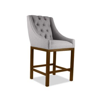 Haley 26 Bar Stool Upholstery Color: Gray, Leg Color: Cognac