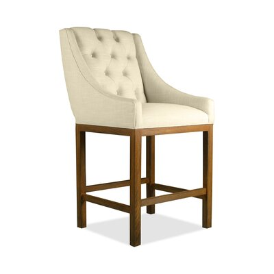 Haley 30 Bar Stool Upholstery: Sand, Finish: Cognac
