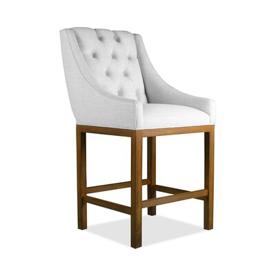 Haley 26 Bar Stool Upholstery Color: White, Leg Color: Cognac