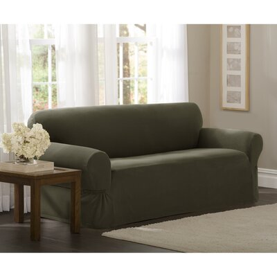 Box Cushion Loveseat Slipcover Upholstery: Dark Olive