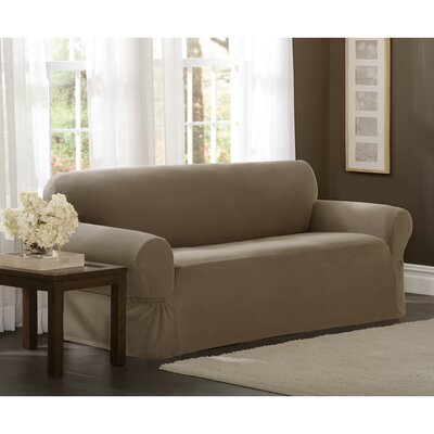 Box Cushion Loveseat Slipcover Upholstery: Sand