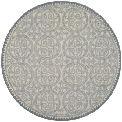 Cambridge Dusty Hand-Tufted Blue/Cement Area Rug Rug Size: Round 6