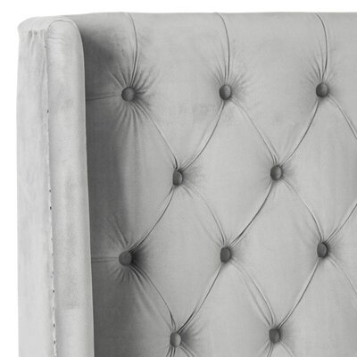 Trenton Upholstered Wingback Headboard Size: Twin, Color: Pewter, Upholstery: Polyester