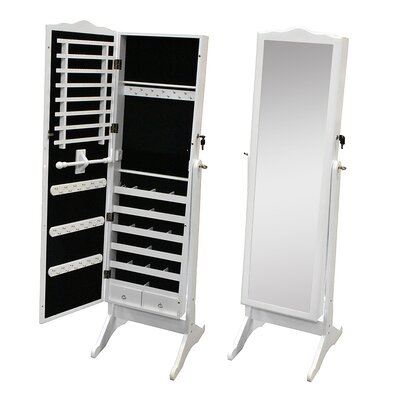 Whitman Free Standing Wood Jewelry Armoire with Mirror Finish: White