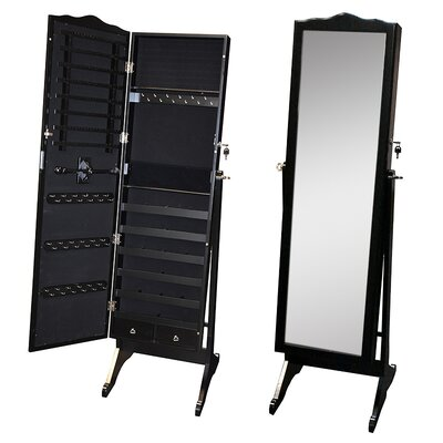Whitman Free Standing Wood Jewelry Armoire with Mirror Color: Black