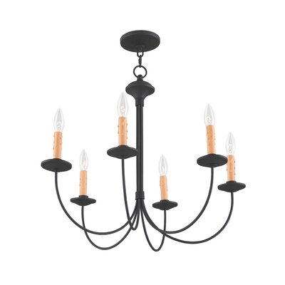 Eberhart Traditional 6-Light Steel Candle-Style Chandelier