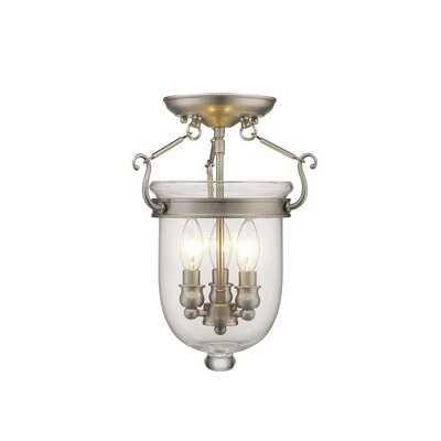 Lauder 3-Light Semi Flush Mount Size: 14 H x 10 W x 10 D, Finish: Brushed Nickel