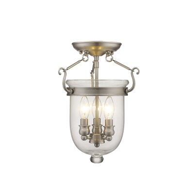 Lauder 3-Light Semi Flush Mount Size: 17 H x 12 W x 12 D, Finish: Brushed Nickel
