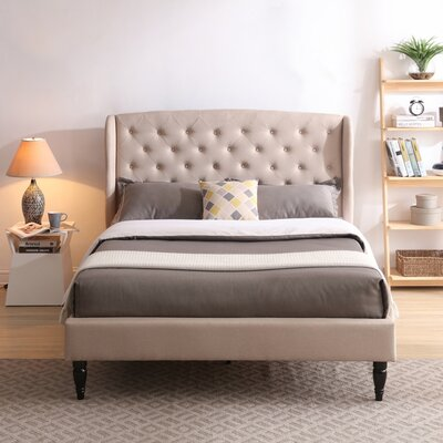 Nilah Upholstered Platform Bed Color: Off White, Size: Queen