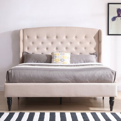 Novalee Upholstered Platform Bed Color: Off White, Size: Queen