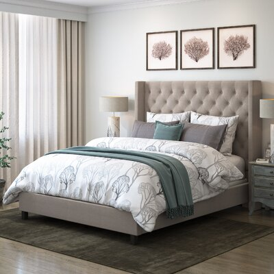 Debord Tufted Upholstered Panel Bed with Wings Size: Full, Color: Beige