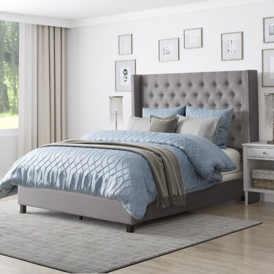 Debord Tufted Upholstered Panel Bed with Wings Size: Queen, Color: Gray