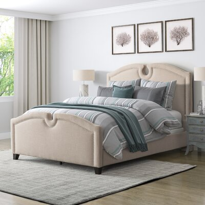 Debord Curved Top Upholstered Panel Bed Size: Queen, Color: Beige