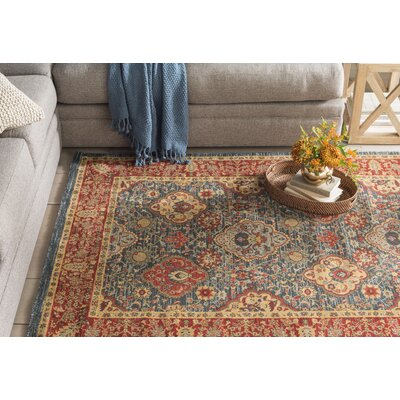 Alto Red/Blue Area Rug Rug Size: Rectangle 51 x 77
