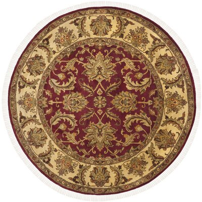 Hindsboro Tufted Wool Red/Gold Area Rug Rug Size: Round 6