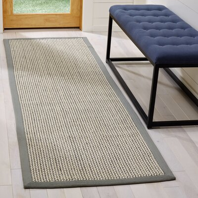 Hand-Woven Gray Area Rug Rug Size: Runner 26 x 8