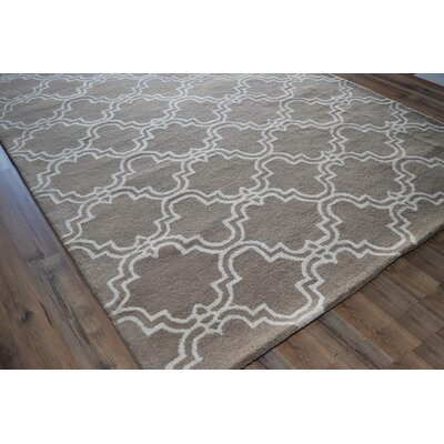 Brett Geometric Hand-Tufted Wool Beige Area Rug Rug Size: 5 x 8
