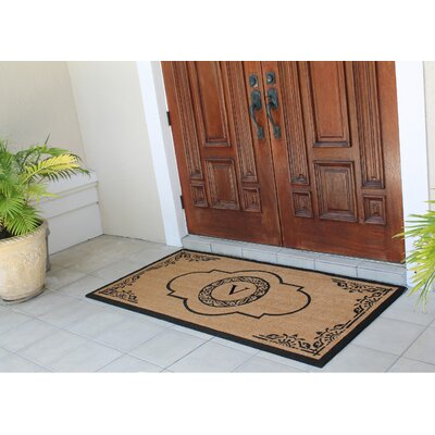 Issac First Impression Hand Crafted X-Large Abrilina Entry Coir Monogrammed Double Doormat Letter: V