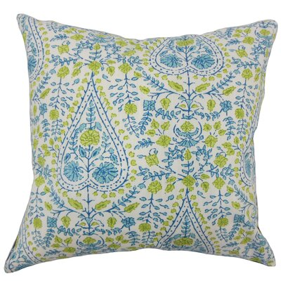Zyra Down Filled 100% Cotton Throw Pillow Size: 18 x 18, Color: Aqua Green
