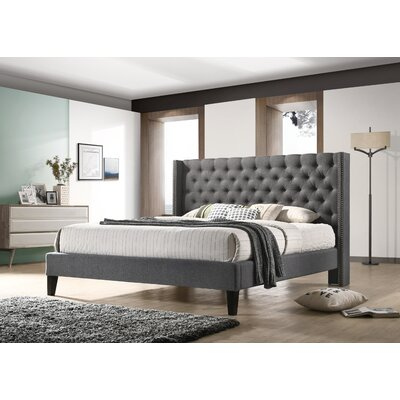 Kathrine Upholstered Platform Bed Size: Queen, Color: Gray