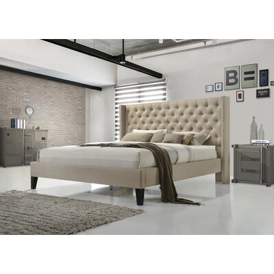 Kathrine Upholstered Platform Bed Size: Queen, Color: Beige
