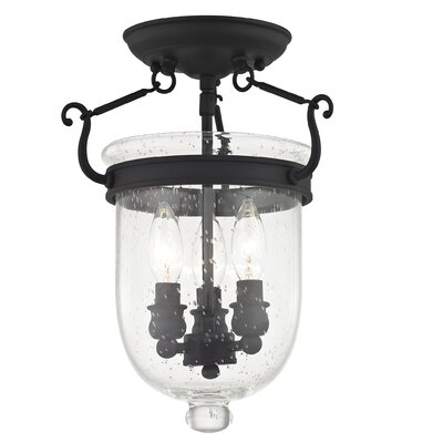 Lauder Semi Flush Mount with Seeded Glass Size: 14 H x 10 W x 10 D, Finish: Black
