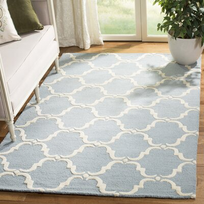 Cambridge Tufted Wool Blue/Ivory Area Rug Rug Size: Rectangle 5 x 8