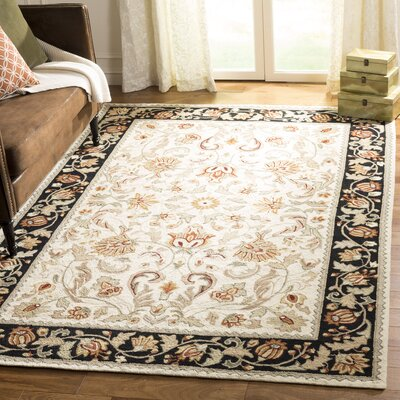 Kapur Hand-Hooked Ivory/Navy Area Rug Rug Size: Rectangle 2 6 x 4
