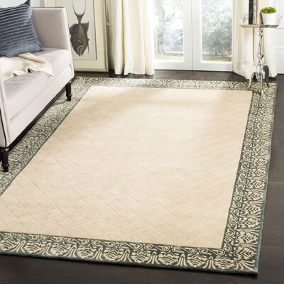 Caine Hand Tufted Ivory/Green Area Rug Rug Size: Rectangle 3 x 5