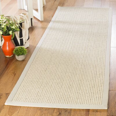 Hand-Woven Light Gray Area Rug Rug Size: Runner 26 x 8