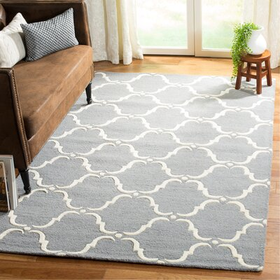 Cambridge Tufted Wool Dark Gray/Ivory Area Rug Rug Size: Rectangle 5 x 8