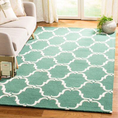 Cambridge Tufted Wool Teal/Ivory Area Rug Rug Size: Rectangle 5 x 8