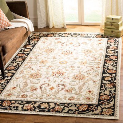 Kapur Hand-Hooked Ivory/Navy Area Rug Rug Size: Rectangle 6 x 9