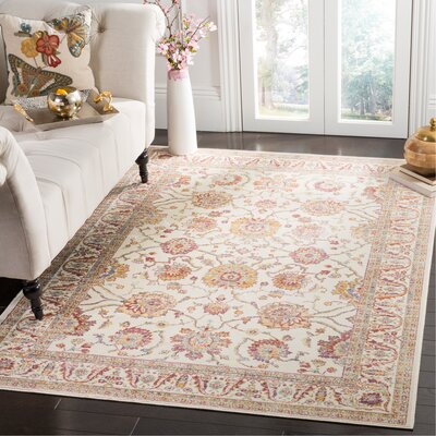 Enlow White/Brown Area Rug Rug Size: Rectangle 53 x 76