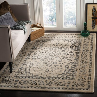 Minonk Beige/Blue Area Rug Rug Size: Rectangle 51 x 76