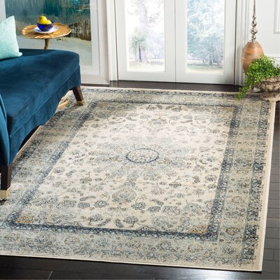 Persian Garden Vintage Ivory/Light Blue Area Rug Rug Size: Rectangle 51 x 77