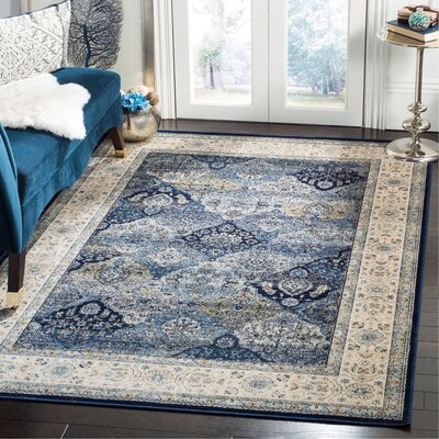 Persian Garden Vintage Navy/Ivory Area Rug Rug Size: Rectangle 51 x 77